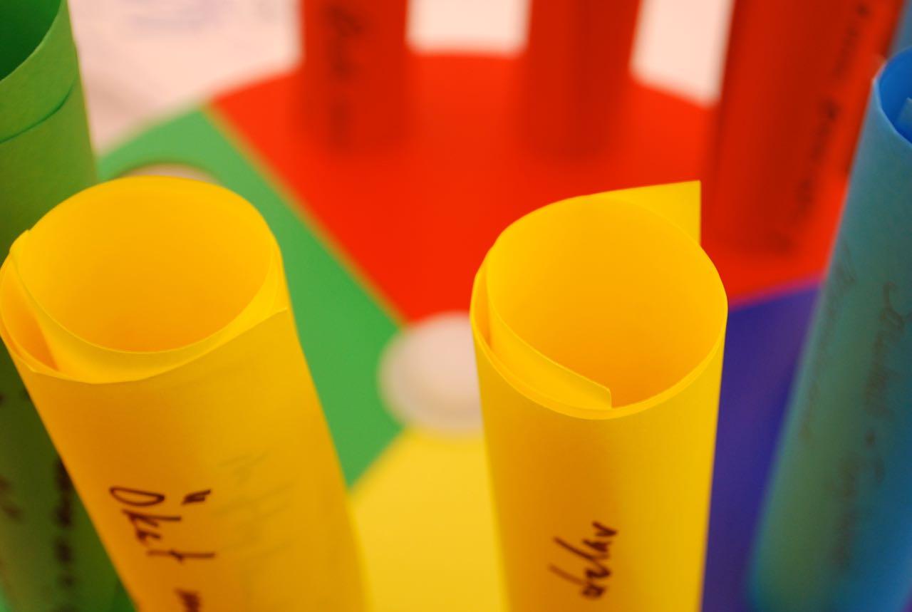 Idéerna nedskrivna på papper i olika färger
